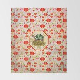 Watercolor Tortoise / Turtle Feng Shui on Bagua Throw Blanket
