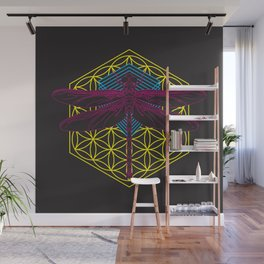 Dragonfly Flower of Life Wall Mural