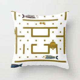 Pac-Fish Throw Pillow