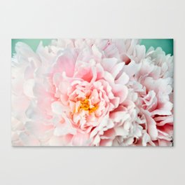 Peony Flower Photography, Pink Peony Floral Art Print Nursery Decor A happy life - Peonies 2 Canvas Print