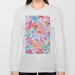 Abstract colorful girly color tones floral leaves illustration Long Sleeve T-shirt