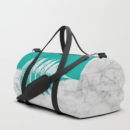 Natural Outlines - Fern Teal & White Marble #755 Duffle Bag