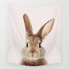 Baby Rabbit, Brown Bunny With Pink Background, Baby Animals Art Print By Synplus Wall Tapestry