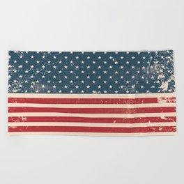Vintage Distressed American Flag Beach Towel