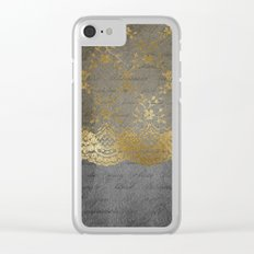 Pure elegance I- gold glitter luxury lace on black grunge background on #Society6 Clear iPhone Case