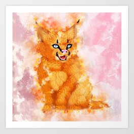 Watercolored caracal cat Art Print