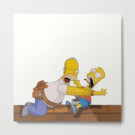 Homer and Bart Metal Print