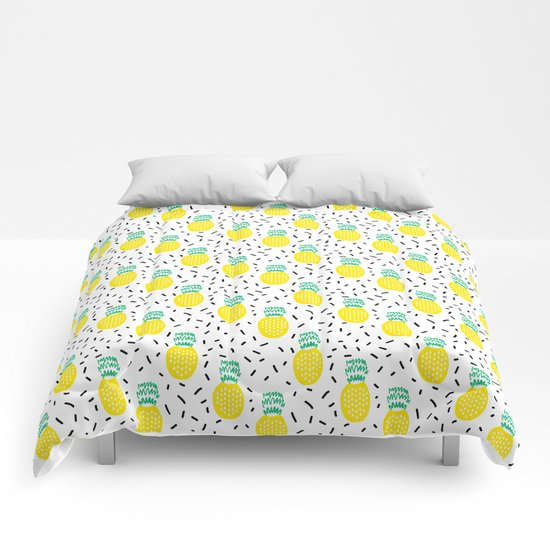 Pineapple fun modern minimal scandi design fresh fruit tropical island summer beach socal vegan Comforters