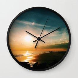 Winter Ocean Sunset Wall Clock