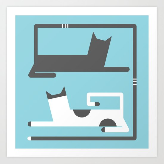 CATS IN LOVE BLUE (abstract animals) Art Print