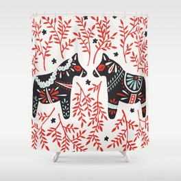 Swedish Dala Horses – Red and Black Palette Shower Curtain