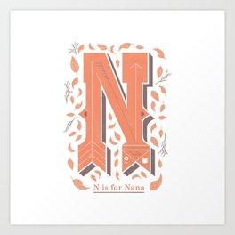 N is for Nana Art Print