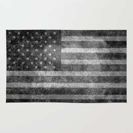 Black and White USA Flag in Grunge Rug