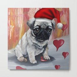Cute Pug, Merry Christmas gift idea with love, adorable dog, pet, original oil painting by Luna Smith Metal Print