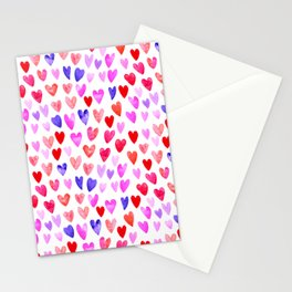 Watercolor Hearts pattern love gifts for valentines day i love you Stationery Cards