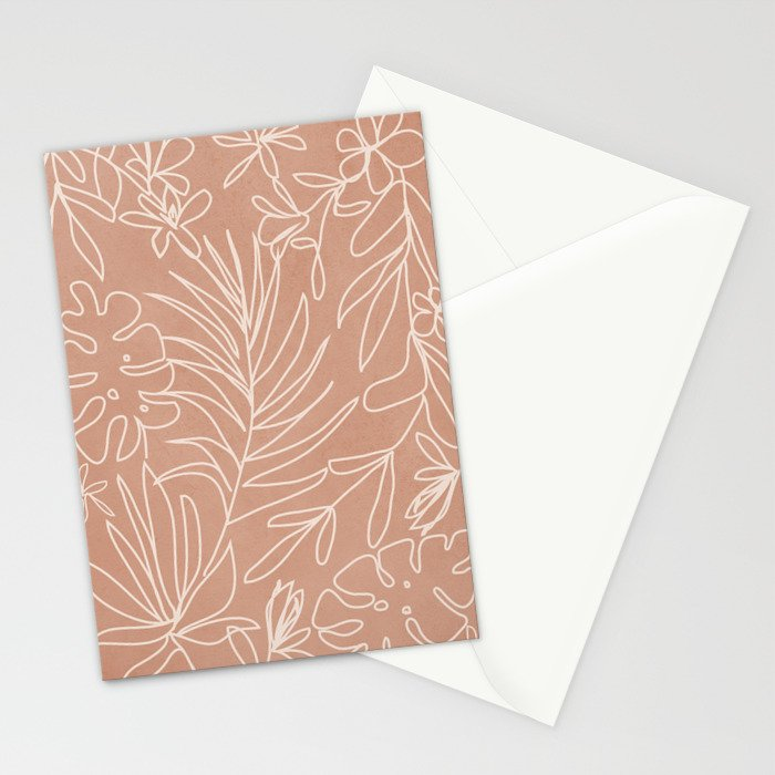 Engraved Tropical Line Stationery Cards