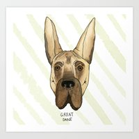 great dane Art Prints featuring Great Dane by Melissa DiPeri