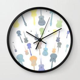 Pastel Guitar Pattern Wall Clock