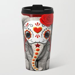 Deep Red Day of the Dead Sugar Skull Baby Elephant Metal Travel Mug