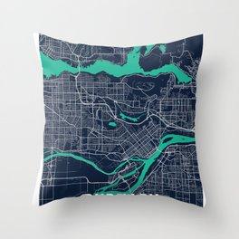 Burnaby Blue Dark Color City Map Throw Pillow