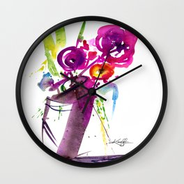 Floral Dance No.1 by Kathy Morton Stanion Wall Clock