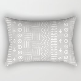 Funky African Mud Cloth in Grey Rectangular Pillow