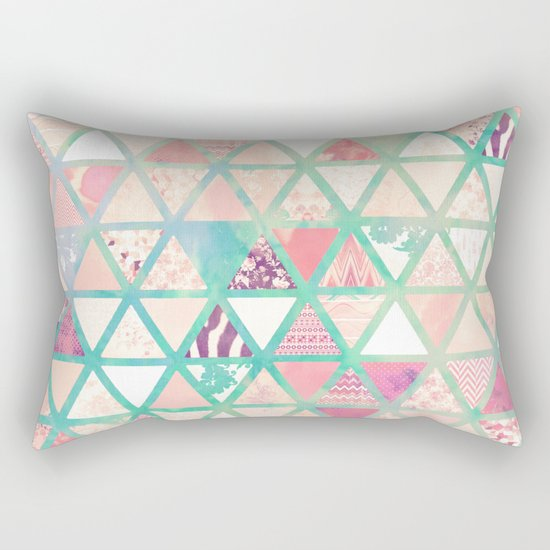 Pink Turquoise Abstract Floral Triangles Patchwork Rectangular Pillow