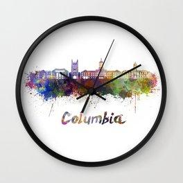 Columbia MO skyline in watercolor Wall Clock