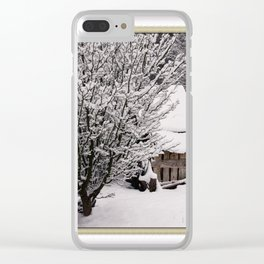 OLD SHED IN SNOW Clear iPhone Case