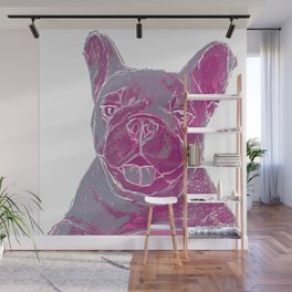 pink frenchie Wall Mural