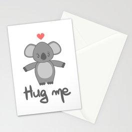 cute hand drawn lettering hug me with cartoon lovely koala bear Stationery Cards