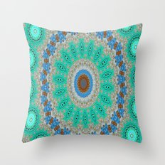 Lovely Healing Mandalas in Brilliant Colors: Blue, Brown, Teal, Silver and Gold Throw Pillow