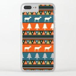 Festive Christmas deer pattern Clear iPhone Case