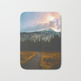 Path leading to Mountain Paradise Mountain Snow Capped Pine trees Tall Grass Sunrise Landscape Bath Mat