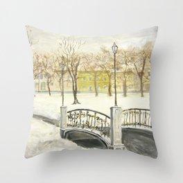 Locks on Little Lovers Bridge Throw Pillow