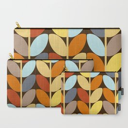Retro 70s Color Palette Leaf Pattern Carry-All Pouch