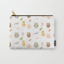 Cute Owls and Autumn Leaves Pattern Carry-All Pouch