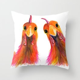 Happy Hens Chickens ' HARRIET & HUMBUG 2 ' by Shirley MacArthur Throw Pillow