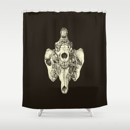 Coyote Skulls - Black and White Shower Curtain