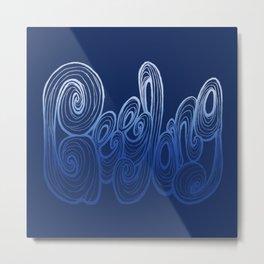 Geelong Typography - Deep Blue Metal Print