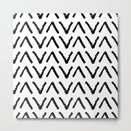 Classic vintage seamless pattern with zigzag triangles, texture grunge crayons ink. black on White Metal Print