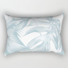 Blue Tropical Palm Leaves Print Rectangular Pillow