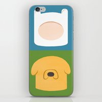 finn and jake iPhone & iPod Skins featuring Finn and Jake by Raquel Segal