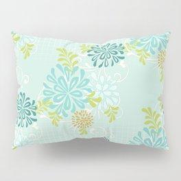 Bold Graphic Mod Mum Modern Chrysanthemum Floral Flower Aqua Blue Pillow Sham