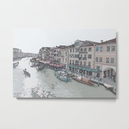 Venice city old buildings and traditional boats Metal Print