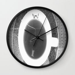 black and white butterfly tea cup Wall Clock