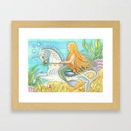 MERMAID AND SEA STALLION - Brack Fantasy Framed Art Print