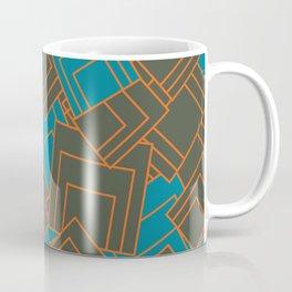 Abstract geometric teal, grey, orange, squares Coffee Mug