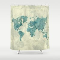 vintage map Shower Curtains featuring World Map Blue Vintage by City Art Posters