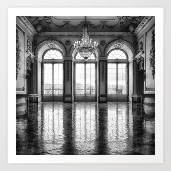 Giant French castle windows antique Paris ballroom hall and chandelier baroque wall mural background Kunstdrucke